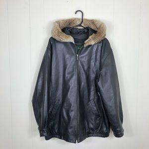 Men's Danier Fur Trim Leather Jacket Sz M